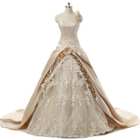 Wholesale Glamourous Lace - Glamourous Champagne Palace Ball Gown Wedding Dresses One Shoulder With Embroidery Sequin Beaded Flowers Appliques Lace Bridal Gowns Cheap