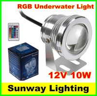 Wholesale 12 Volt Led Spotlights - 10W Waterproof swimming pool lights LED Underwater Spotlight 12 Volt RGB led light bulb with 24 Key IR Remote Controller free shipping