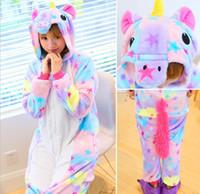 Wholesale Girls Onesie Pajamas - Unicorn Pajamas Women Cosplay Costume Animal Onesie Girls Blue Pink Purple Homewear Flannel Warm Loose Soft Jumpsuit Kid & Adult