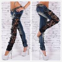mulheres blue sky blue venda por atacado-Mulheres Jeans Patchwork Rendas Floral mulheres jeans Oco out Casual Denim Calças Lápis jeans fancyland lace céu azul plus ZJ1473