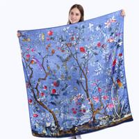 Wholesale silk flower scarf big - 130cm*130cm New Twill Silk Scarf Woman Fashion Large Square Scarf Shawl Flowers Birds Printing Scarves&Big Hijab Neckerchief