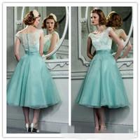 casquettes vert olive achat en gros de-Années 1950 Vintage Hepburn Style thé longueur robes de soirée avec bateau cou Cap manches menthe vert organza dentelle rétro courte robe de bal