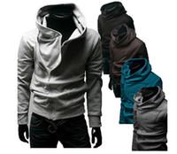 hutentwurf kapuzenpullijacke großhandel-Winter NEW Herren Slim personalisierten Hut schiefen Reißverschluss Design Hoodies Sweatshirts Jacke Pullover Assassins Creed Coat