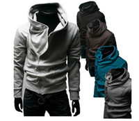 Wholesale Sweater Assassins - winter NEW Men's Slim Personalized hat Inclined zipper Design Hoodies & Sweatshirts Jacket Sweater Assassins creed Coat