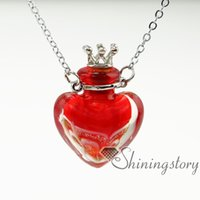 Wholesale Necklace Vial Heart - heart essential oil necklace diffuser jewelry aromatherapy pendants essential oil necklaces small glass vials wholesale small perfume bottle