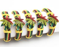 Wholesale Wholesale Leather Bracelets Jewelry - Wholesale Jewelry LOTS 12PCS Men Women's Hand Woven Tribal Style Colorful Maple Leaf Hemp Leather Bracelets Bangle Gift MB108