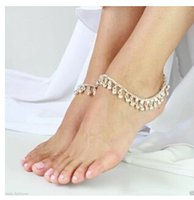 Wholesale Chunky Chain Anklet - Wholesale-FREE SHIPPING New Style L52 Women Fashion Silver Chain Anklet Chunky Chain Silver Bells Ankle Chain Jewelry 2 colors
