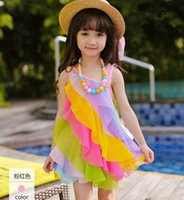 Wholesale Dress Rainbow Striped - Summer New Collection Korean Style Rainbow Color Inclined Shoulder Yarn Children Dresses Stylish Candy Color Children Dresses