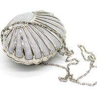 Wholesale Silver Beaded Purse - Mini Conch Bridal Handbags Women's Prom Party Evening Clutches Purse Bags Shinning Luxury Gold Silver Multiple Colors Dress Accessories