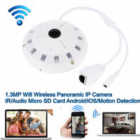 Wholesale Motion Detection Camera Micro Sd - Ceiling Mount 360 Degree 1.3MP Wifi Wireless Panoramic IP Camera Support Motion Detection Audio IR Night Vision Micro SD Card Android iOS