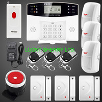 Wholesale Sms Panic Button - Free shipping! Upgraded Latest Wireless GSM SMS Alarm system Home Security Alarm Systems LCD Keyboard Panic Button