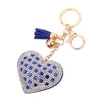 ingrosso annata di nappe chiave-Moda carino cuore pesca cristallo catena chiave nappa pendente Vintage ragazze pendente borsa creativa portachiavi 5 colori gioielli D296L