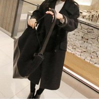Gros-2015 New hiver coréenne Grand revers Laine Manteau long en Femme Double Coat Mail Bag