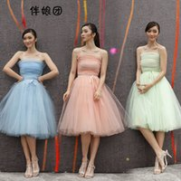 Wholesale Ivory Wedding Dresse Short - High Quality Simple knee length wedding dresse Sleeveless Bridesmaid Dresses Beautiful A-Line Forrmal Homecoming Gowns for party