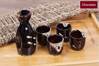 Wholesale Hand Painted Ceramic Pots - Traditional Japanese Sake Wine Sets Ceramic Sake Bottle and Cup Gift Set Chocolate Pot with Hand Painted White Fish Pattern