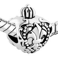 China Factory Wholesale Metal Jewelry Fleur-de-lis Flower Heart Shape Charm European Silver Plated Beads for Bracelets