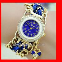 Wholesale Crystal Pendant Watches - Women's Fashion Watches Girl Vintage Nylon Bracelet Key Pendant Fabric Strap Casual Watches Analog Crystal Metal Chn Ladies Quartz Watch New
