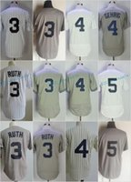 Wholesale Gehrig Jersey - New York #3 babe ruth 4 Lou Gehrig 5 Joe DiMaggio Flexbase Jerseys Cool Base Throwback Stitched Grey White