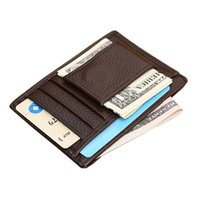 Wholesale Thin Leather Man Bags - Wholesale- Business Thin Mini Wallet Men's Purse Vintage Leather Clutch Fashion Coin Credit ID Card Holder Slim Purse Money Bag Casual Male
