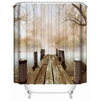 ingrosso vintage tende da doccia-Tenda da bagno vintage da stampa digitale impermeabile Nuova tenda da bagno doccia da bagno vintage in legno di moda di vendita calda
