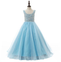Discount heavy beaded wedding gowns Lovely Baby Blue Flower Girls Dresses For Weddings With Scoop Neck Heavy Beaded Ruched Ball Gown Little Kids Pageant Party Dress