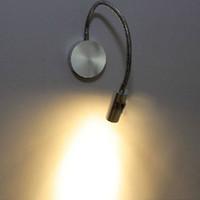 lampes de lecture de chevet menées flexibles achat en gros de-Lampe de chevet LED Lampes murales de lecture 3W lumière avec interrupteur réglable flexible piège de plomberie fond lumière Spot lumière blanche chaude