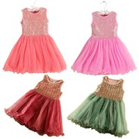 Wholesale Dresses Bling Knee Length - PrettyBaby girls sequin gauze dress round neck sleeveless vest dress bling tutu skirt princess girls party dress summer certified by CTI-USA