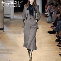 Wholesale Wide Leg Pants Skirt - 2017 Autumn and Winter New Women's Couture, Fashionable Temperament Wool Coat, Wide Leg Pants Suit, Female Four Sets of Tide