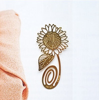 Wholesale Birthday Gift Book - 20pcs 18K Gold Plated Sunflower Bookmark Book card For Wedding Baby Shower Party Birthday Favor Gift Souvenirs Souvenir CS017