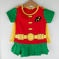 Wholesale Embroidery Suits Girls - Newborn Baby Girls Romper Batman Robin Costumes Toddler With Cloak Embroidery Cotton Snap Suit Short Sleeves Summer Cosplay Clothes Playsuit