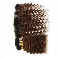 spitze frontalverschluss dunkelbraun großhandel-Dunkle Wurzeln Auburn Spitze Frontal Schließung mit Haarbündel tiefe Welle 1B / 30 Ombre Brown Haar spinnt mit Spitze Frontal