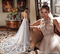 Wholesale Modified Sweetheart - romantic modified a line wedding dresses 2018 julie vino bridal sleeveless illusion halter neck sweetheart neckline open back chapel train