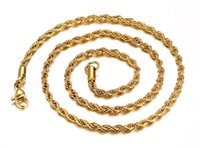Wholesale Thin Stainless Steel Necklace Chain - Fashion XMAS's Gift For Mother Girlfriend 18k New Gold stainless steel charming Thin Twist shape Chain Necklace Women 3mm 18''