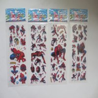 Wholesale Stickers Three - 2015 children boys greatest cartoon spiderman stickers PVC Three Dimensions decorate the room kids boy girl kindergarten Gifts 200pcs lot