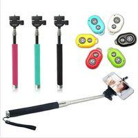telemóvel monopé venda por atacado-Wireless Monopod Selfie stick Remote Camera obturador Extensível Handheld Monopod suportes de celular para todos os telefones com caixa retial c04