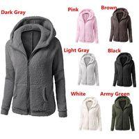 Wholesale collared hoodies girls - Solid Color Sherpa Pullover Thick Hoodies Streetwear Women Casual Zipper Collar Sherpa Hoodies Sweater Sweatshirts 30pcs LJJO3746