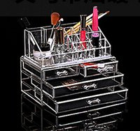 Wholesale Clear Case Make Up Organizer - Hot Make up tools cosmetic stand storage holder cosmetic organizer Clear makeup storage case jewelry box three layes 1155