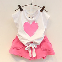 Wholesale Girls Heart Skirt - 2015 kids clothes baby sets Kid Clothing Set Children Clothes Girls love heart T-shirt tops + peach pink skirts baby outfit TZ085