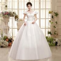Wholesale Short Sexy Weddingdress - Shanghai Story V neck weddingdress Vintage Pearls Wedding Dress Lace up V neck Floor Length wedding dresses Vestido de Noiva Casamento HS035