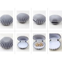 Wholesale Earrings Shells - Wholesale-Jewelry Box Case Container Stand Gray Shell Conch Fit For Rings And Stud Earrings
