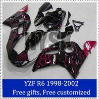 Wholesale 1998 Yamaha R6 Custom - Fairing kits set for Yamaha 2002 YZF-R6 1998 1999 2000 2001 Motorbike Cowling Fire flame 98-02 YZF R6 Custom Painting Motorcycle Fairing