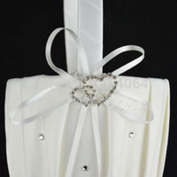 Wholesale Wedding Flower Girls Basket Ivory - 2014 New Fashion Ivory Satin Pearl Diamante Wedding Party Double Heart Flower Girl Basket Decoration Free shipping 010399