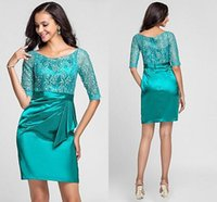 Wholesale Evenning Gowns - 2015 Lace Short Party Dresses Plus Size With Sleeves Crew Modest Ruffle High Quality Homecoming Dress Custom Made Charming Evenning Dress