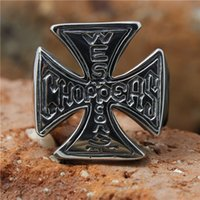 1pc Fashion Jesus Cross Ring 316L Acier inoxydable Popular Cool Man Band Party Design personnalisé Punk Cross Ring