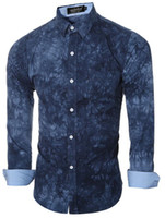 ingrosso camicia di cravatta-Uomini Shirt 2016 Camicie maschile casual a manica lunga Camicie stampa tie-dye Slim misura del vestito Mens hawaiana Camisa Masculina Grigio M-2XL