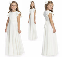 Wholesale beauty pageants for sale - Group buy 2020 Simple Ruffles Flutter Ruched Chiffon Beauty Pageant Flower Girl Dress Toddler Junior Girl Dress With Sash And Bow HY1201