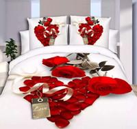 ingrosso copertine rosse fiorite coperte piene-Home Texitle New Bedclothes 3D Pattern 4PCS Set biancheria da letto King Size (1 PC Lenzuolo / 1PC Copripiumino / 2 PZ Copricuscino)