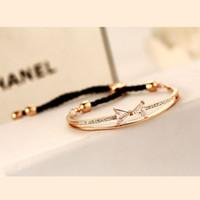 Wholesale Bow Bangles - Rope Bow Bracelets Rose Plated Luxury Alloy Adjustable Bracelet Bangle For Women Fashion Korea Accessories Jewelry 2015 New