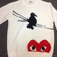 Wholesale Birds Paragraph - COMME DES A GARCONS CDG HOLIDAY 17 Japan hoodies cashmere sweater brand peach heart bird love clothes paragraph semi long sleeve clothing