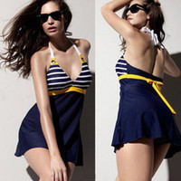 Wholesale Navy Blue Striped Dress - Sexy Womens Padded Navy Swimwear Dresses Striped Halter Push up Bathing Suit Bikini Backless Swimsuit Skirt M280